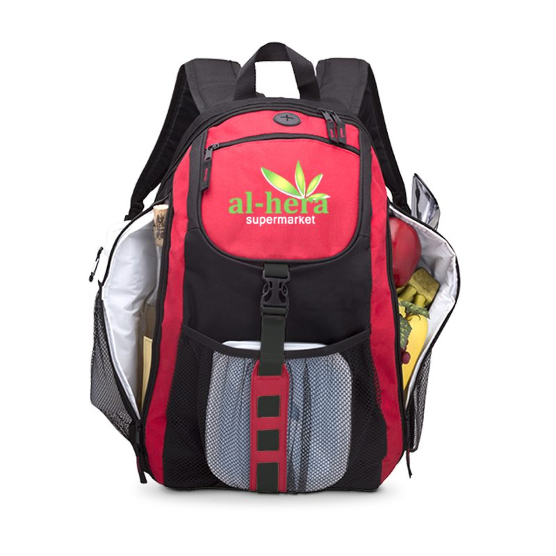 3075 Columbus - Dual Cooler Backpack RED open