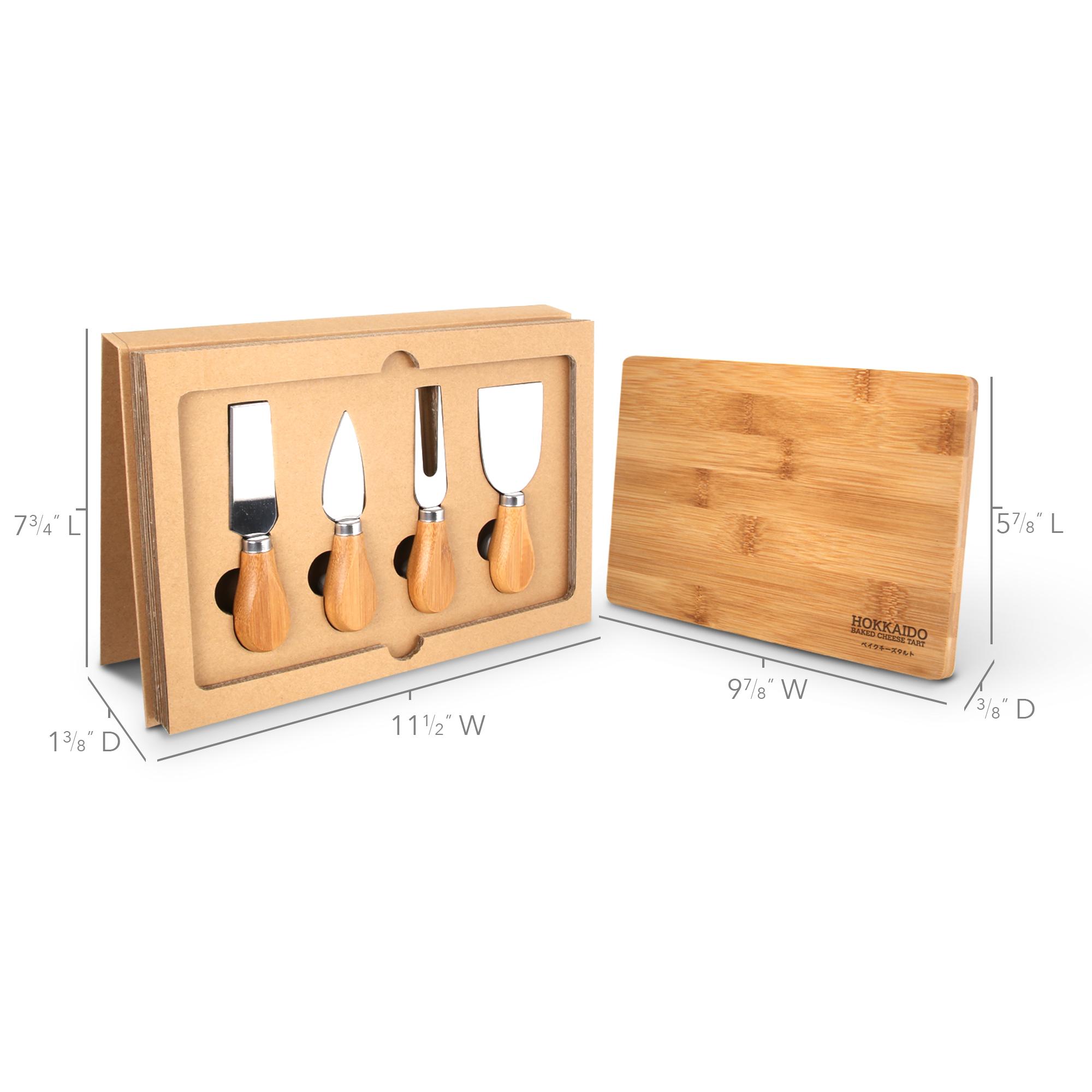 BA-65 5-Piece Cheese Knife Set & Bamboo Cutting Board w/ Gift Box