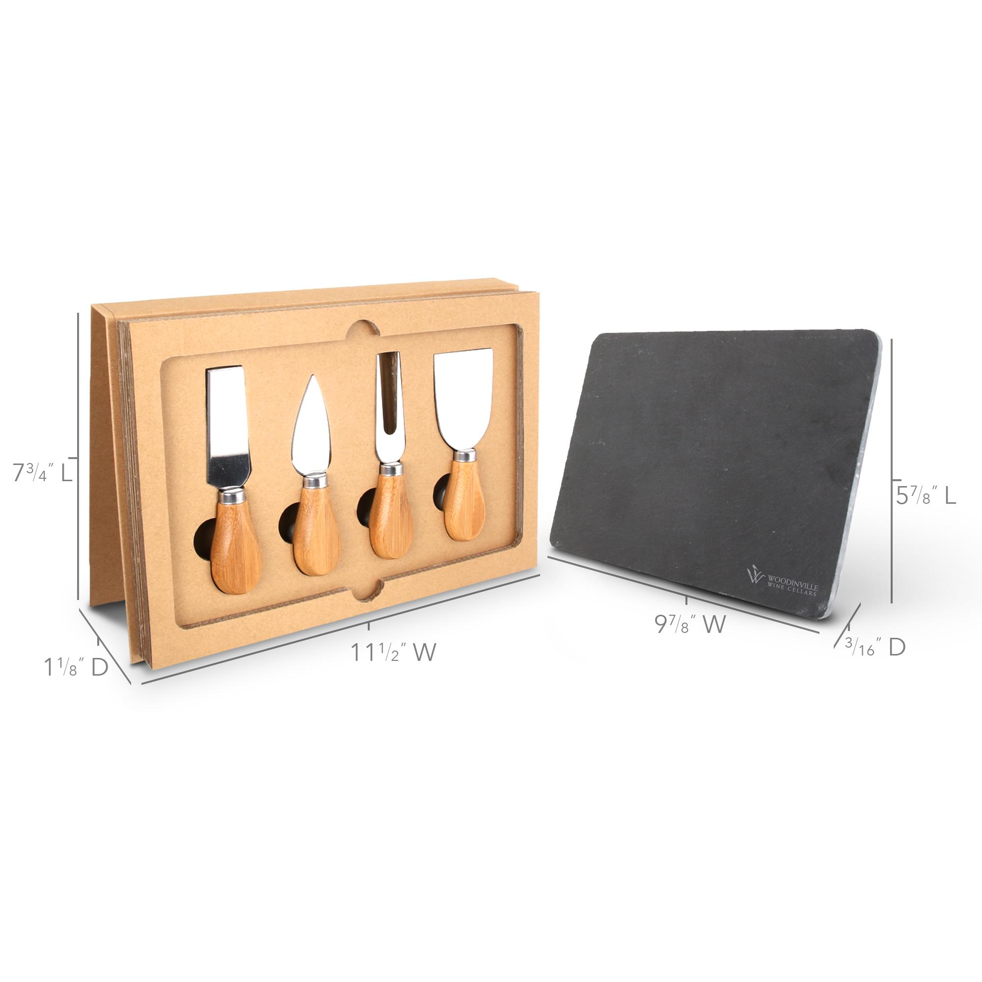 BA-67 5-Piece Cheese Knife Set & Slate Cutting Board w/ Gift Box