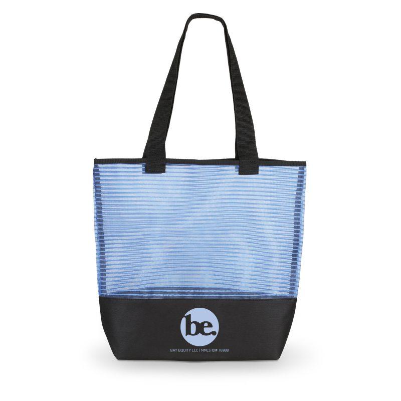 1234 Stripe - Mesh Weave Tote Bag BLUE