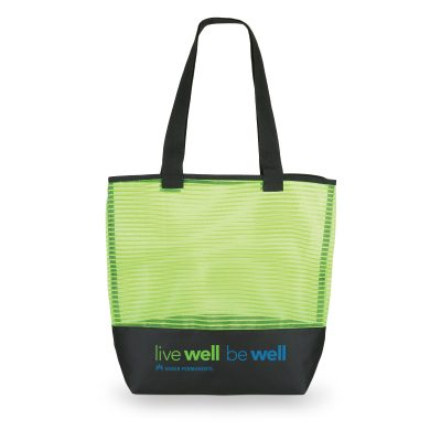 1234 Stripe - Mesh Weave Tote Bag LIME