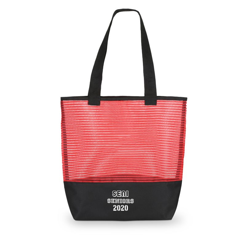 1234 Stripe - Mesh Weave Tote Bag RED
