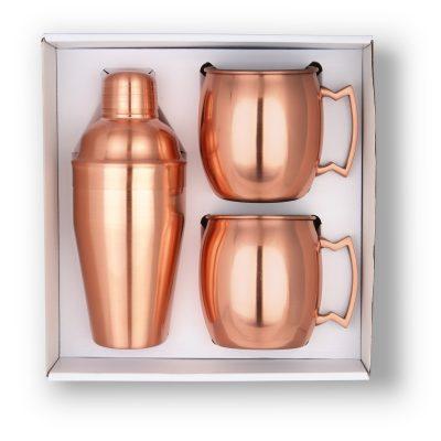 GT-63C Cocktail Shaker & Mule Mug Gift Set (Copper) BLANK