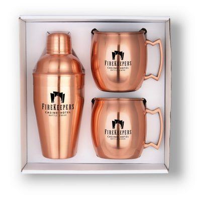 GT-63C Cocktail Shaker & Mule Mug Gift Set (Copper)