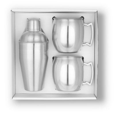 GT-63S Cocktail Shaker & Mule Mug Gift Set (Brushed Stainless) BLANK