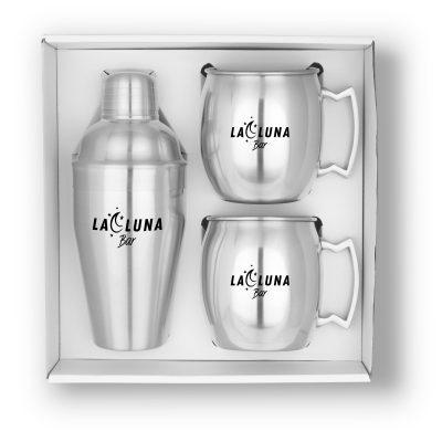 GT-63S Cocktail Shaker & Mule Mug Gift Set (Brushed Stainless)