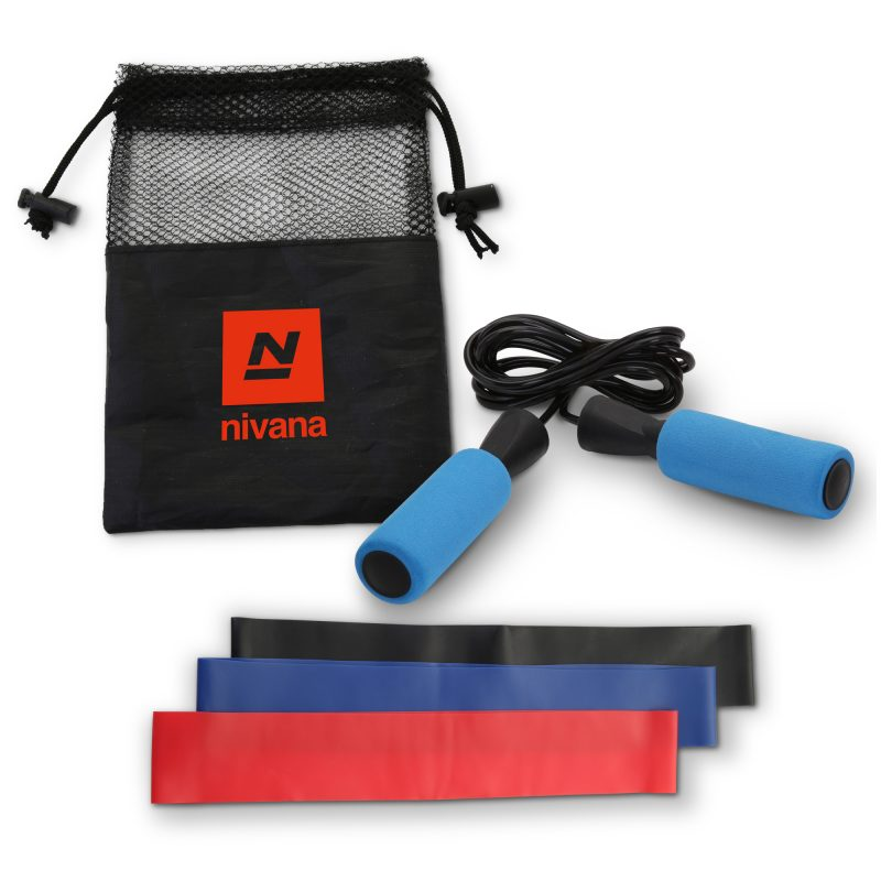 HR-92 Jump Rope & Resistance Band Exercise Kit BLUE