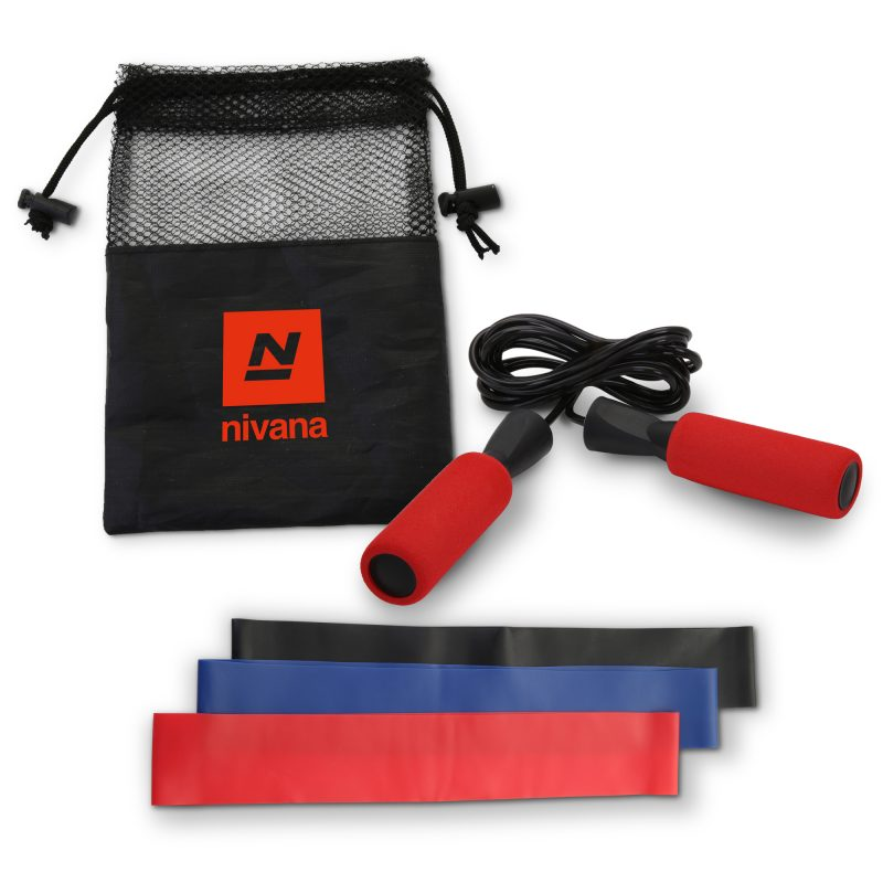 HR-92 Jump Rope & Resistance Band Exercise Kit RED